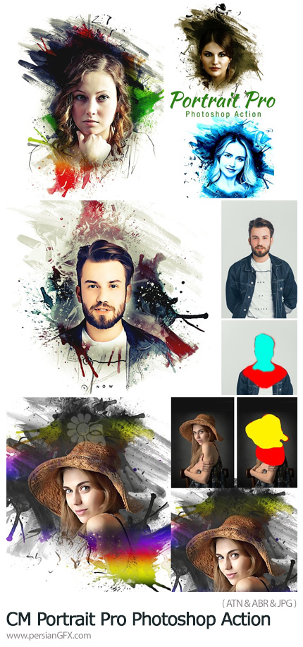 دانلود اکشن فتوشاپ ساخت پرتره هنری با افکت نقاشی - CreativeMarket Portrait Pro Photoshop Action
