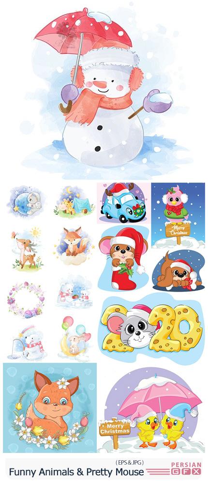 دانلود مجموعه وکتور حیوانات کارتونی زمستانی - Funny Animals And Pretty Mouse Illustrations