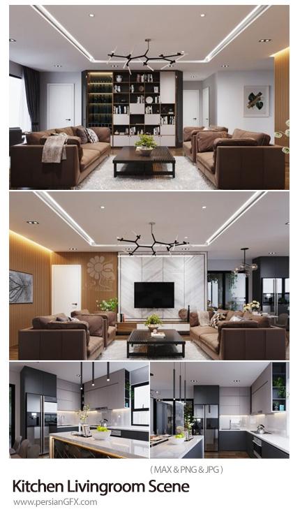 دانلود مجموعه مدل های سه بعدی آشپزخانه و سالن پذیرایی - Kitchen Livingroom Scene By NguyenVanMinh