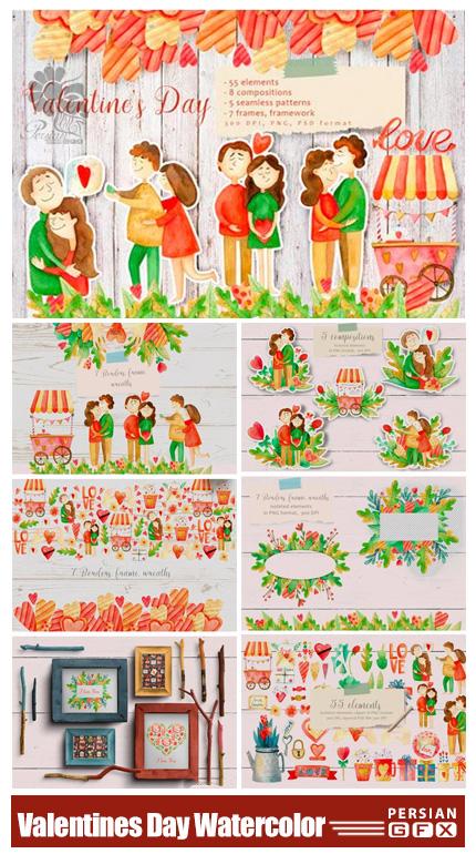 دانلود کلیپ آرت عناصر آبرنگی عاشقانه برای ولنتاین - Valentines Day Watercolor Set
