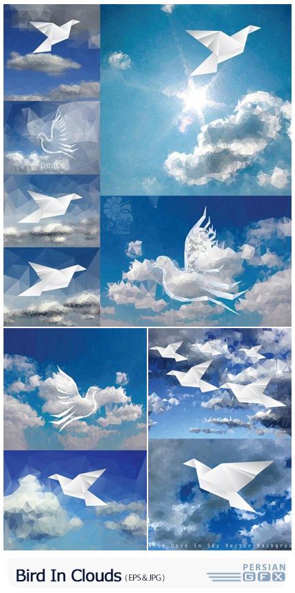 دانلود وکتور طرح های پولیگانی پرنده در آسمان ابری - Bird In Clouds