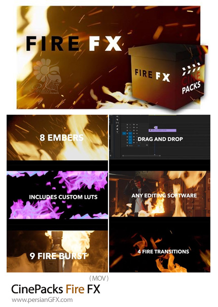 دانلود مجموعه فوتیج آتش، شعله آتش، انفجار آتش و جرقه آتش - CinePacks Fire FX