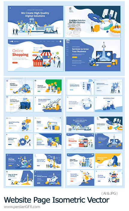 دانلود مجموعه وکتور بنرهای فلت برای صفحات وب - Website Page Isometric Vector, Flat Banner Concept Illustration