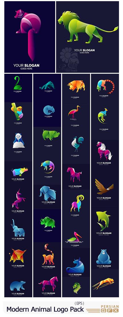 دانلود مجموعه وکتور آرم و لوگوی مدرن حیوانات مختلف - Modern Simple Animal Logo Template Pack