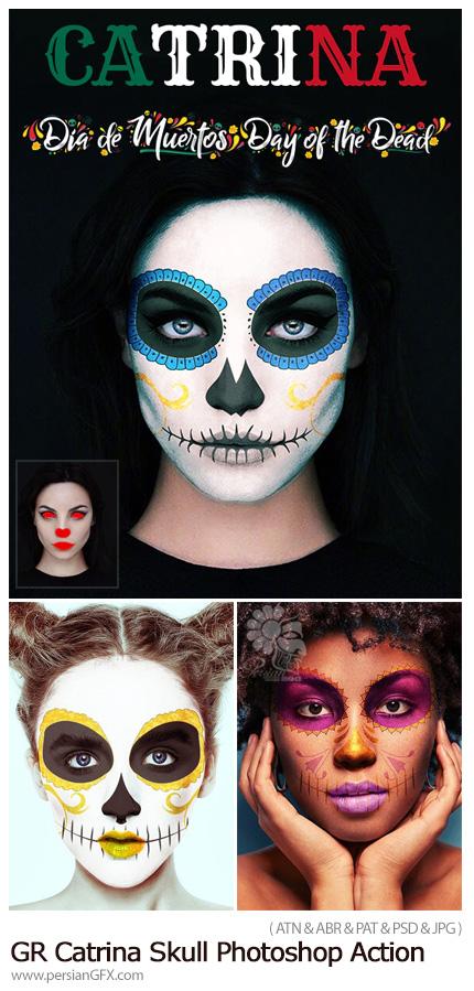 دانلود اکشن فتوشاپ ایجاد افکت نقاشی اسکلت بر روی چهره به همراه آموزش ویدئویی - GraphicRiver Catrina Skull Photoshop Action