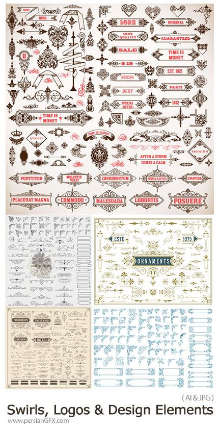 دانلود وکتورعناصر تزئینی لوگو، قاب و حاشیه و روبان - Swirls, Scrolls, Logos And Design Elements