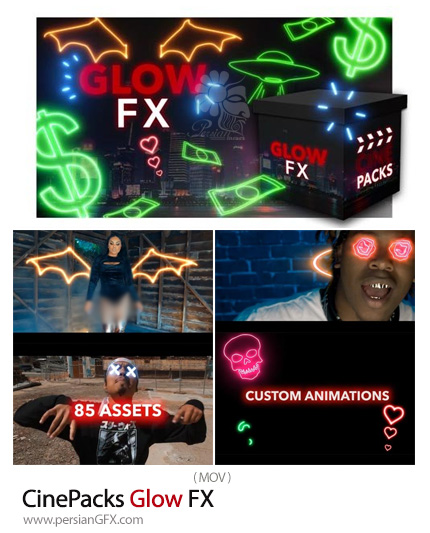 دانلود مجموعه فوتیج اشکال، آبجکت ها با نورهای نئونی - CinePacks Glow FX