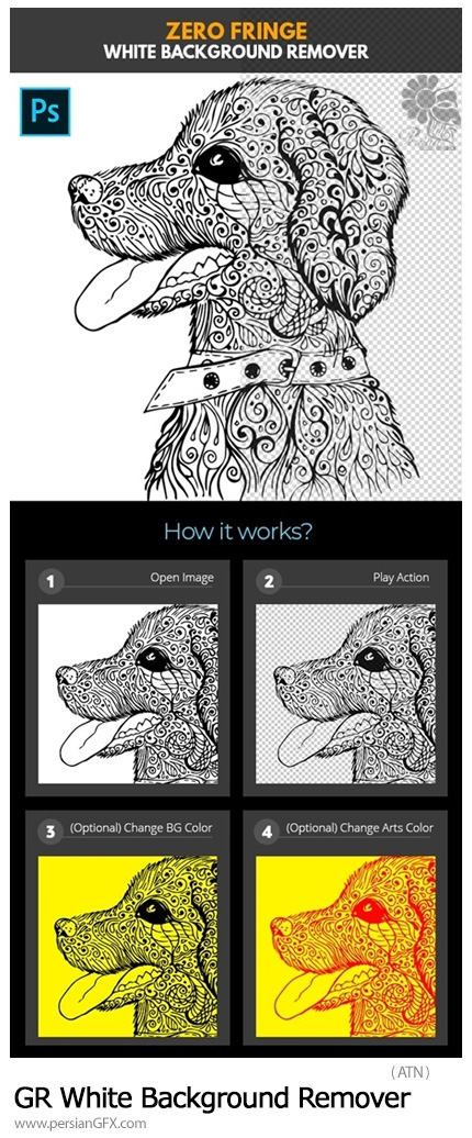 دانلود اکشن فتوشاپ حذف دقیق بک گراند سفید به همراه آموزش ویدئویی - GraphicRiver Zero Fringe White Background Remover Photoshop Action