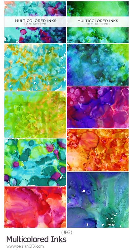 دانلود مجموعه تکسچر جوهری رنگارنگ و ابرو بادی با کیفیت بالا - Multicolored Inks