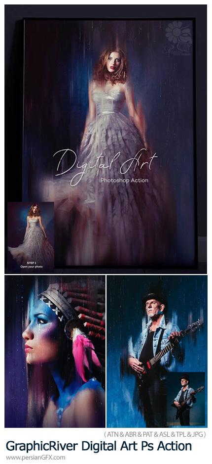 دانلود اکشن فتوشاپ ساخت تصاویر هنری دیجیتالی به همراه آموزش ویدئویی - GraphicRiver Digital Art Photoshop Action