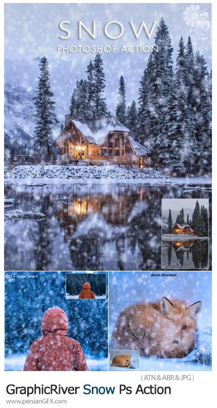 دانلود اکشن فتوشاپ ایجاد افکت بارش برف بر روی تصاویر به همراه آموزش ویدئویی - GraphicRiver Snow Photoshop Action