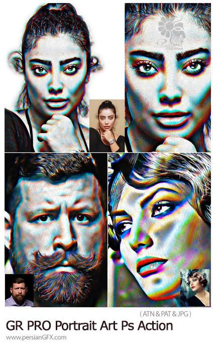 دانلود اکشن فتوشاپ ساخت پرتره هنری حرفه ای - GraphicRiver PRO Portrait Art Photoshop Action