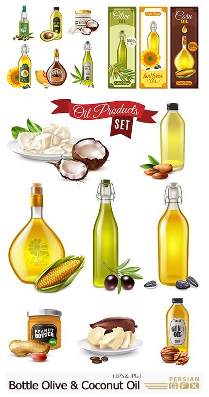 دانلود وکتور روغن بادام، روغن نارگیل، روغن زیتون برای سلامتی - Bottle Olive Almond And Coconut Oil For Proper Nutrition
