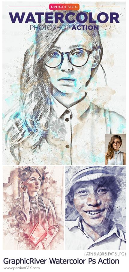 دانلود اکشن فتوشاپ تبدیل تصاویر به نقاشی آبرنگی به همراه آموزش ویدئویی - GraphicRiver Watercolor Photoshop Action