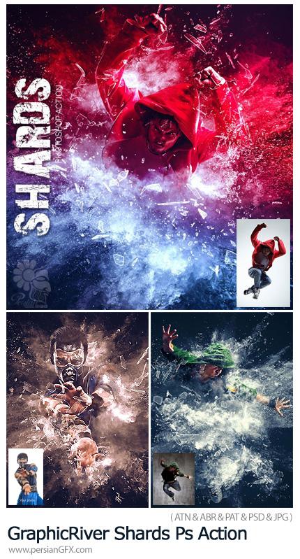 دانلود اکشن فتوشاپ ایجاد افکت ذرات ریز پراکنده بر روی تصاویر - GraphicRiver Shards Photoshop Action