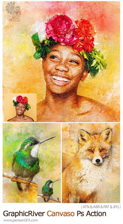 دانلود اکشن فتوشاپ تبدیل تصاویر به نقاشی روی بوم به همراه آموزش ویدئویی - GraphicRiver Canvaso Photoshop Action
