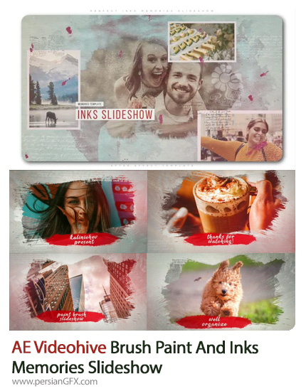 دانلود 2 پروژه افترافکت اسلایدشو تصاویر با افکت جوهری و براش نقاشی - Videohive Brush Paint And Inks Memories Slideshow