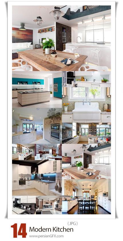 دانلود 14 عکس با کیفیت طراحی داخلی آشپزخانه مدرن - Modern Kitchen