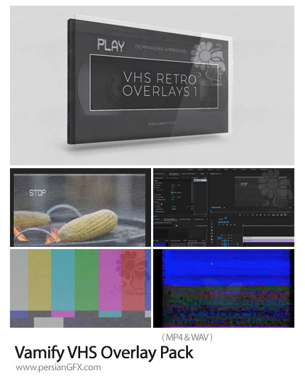 دانلود پک فوتیج پوششی فیلم VHS به همراه آموزش ویدئویی - Vamify VHS Overlay Pack