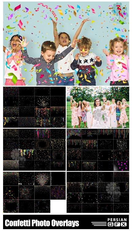 دانلود 75 تصویر پوششی کاغذ رنگی های تزئینی برای جشن ها - 75 Festive Confetti Photo Overlays