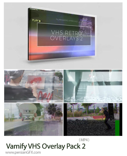 دانلود پک فوتیج پوششی فیلم VHS به همراه آموزش ویدئویی - Vamify VHS Overlay Pack 2