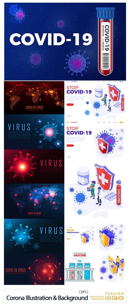 دانلود بک گراند و طرح های آماده با موضوع ویروس کرونا - Stop Coronavirus Illustration And Background Set