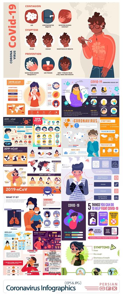 دانلود المان های اینفوگرافیکی علائم و پیشگیری ویرووس کرونا - Coronavirus 2019 Symptoms And Prevention Design Infographics