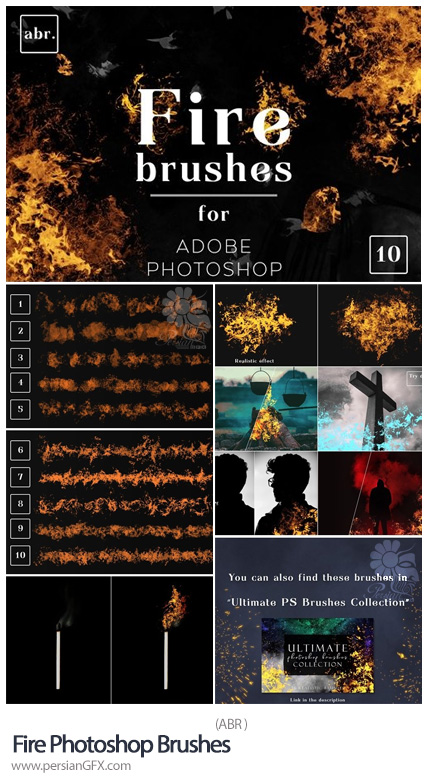 دانلود 10 براش فتوشاپ شعله آتش - Fire Photoshop Brushes