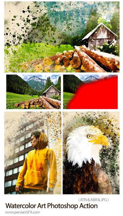 دانلود اکشن فتوشاپ تبدیل تصاویر به نقاشی آبرنگی هنری - Watercolor Art Photoshop Action