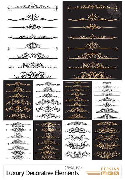 دانلود وکتور حاشیه های تزئینی لوکس - Luxury Gold Decorative Elements Collection