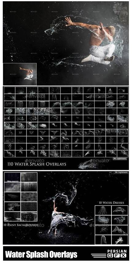 دانلود مجموعه تصاویر پوششی اسپلش آب و ذرات مایع - Water Splash Overlays