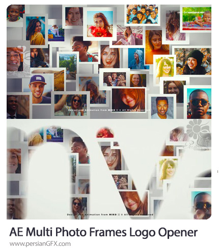 دانلود پروژه افترافکت اوپنر لوگو با فریم های عکس به همراه آموزش ویدئویی - Photo Frames Logo Opener
