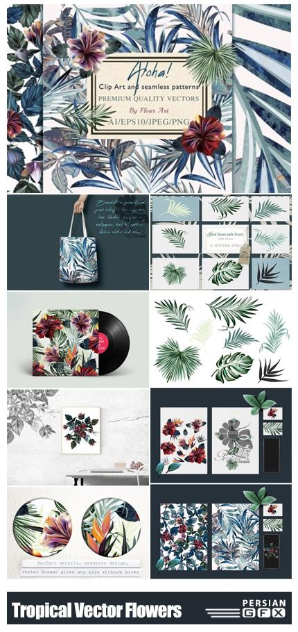 دانلود کلیپ آرت عناصر طراحی استوایی شامل فریم، پترن و بت و جقه - Tropical Vector Flowers