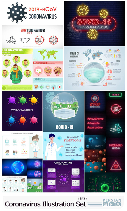 دانلود مجموعه المان های گرافیکی علائم و پیشگیری ویرووس کرونا - 2019 Covid-19 Coronavirus Illustration