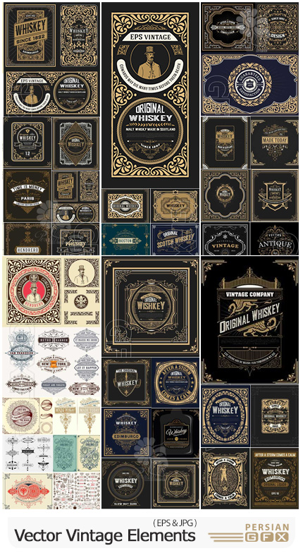دانلود مجموعه وکتور لیبل، نماد، لوگو، روبان و پترن وینتیج - Vector Vintage Elements