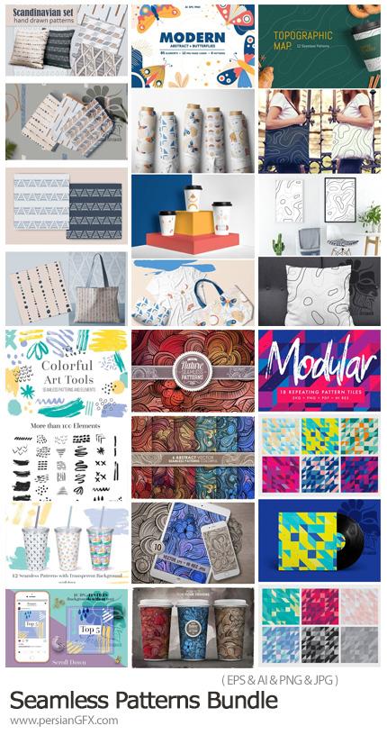 دانلود مجموعه پترن رنگی، موج دار، کاشی کاری، توپوگرافی و ... برای طراحی محصولات - Seamless Patterns Bundle