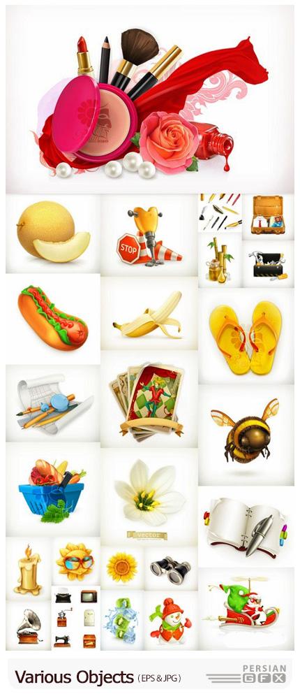دانلود وکتور آبجکت های مختلف شامل لوازم آرایشی، نقشه، فست فود، میوه و ... - Various Objects