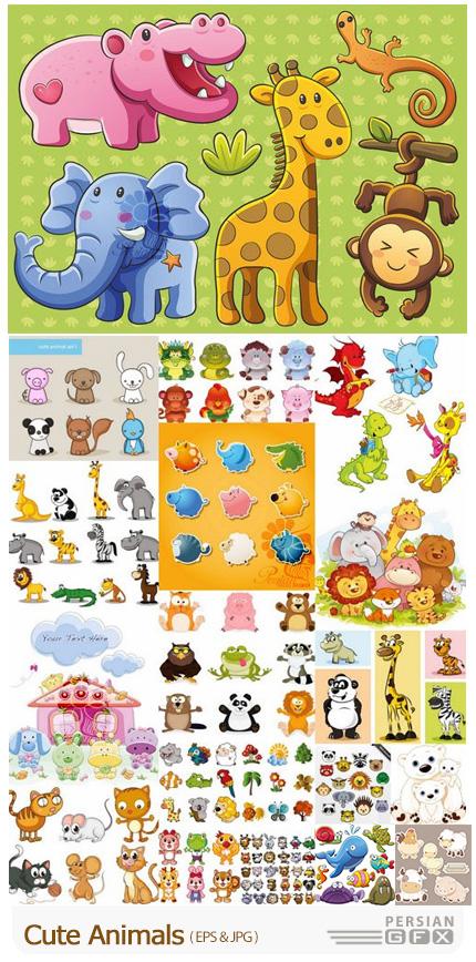 دانلود وکتور حیوانات کارتونی برای کارت پستال و طراحی کودکانه - Cute Animals