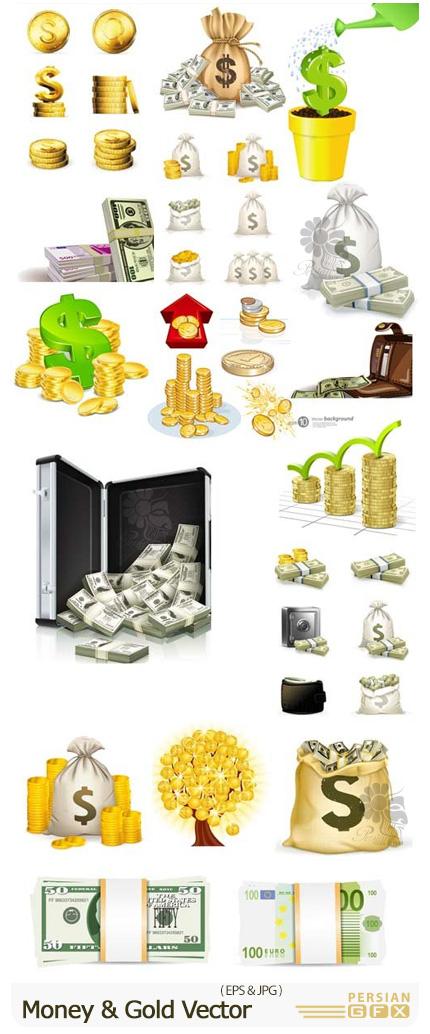 دانلود وکتور پول، دلار، یورو، اسکناس، سکه و ... - Money And Gold Vector