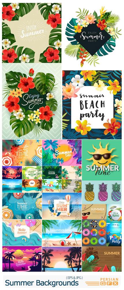 دانلود وکتور بک گراند های تابستانی متنوع - Summer Backgrounds