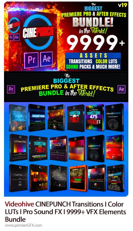 دانلود مجموعه موشن گرافیک پریست و افکت های صوتی برای پریمیر و افترافکت - CINEPUNCH Transitions I Color LUTs I Pro Sound FX I 9999+ VFX Elements Bundle V19
