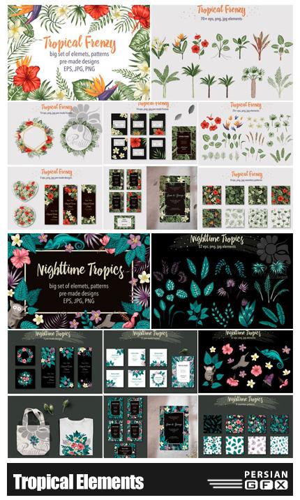 دانلود کلیپ آرت المان های گلدار تابستانی شامل فریم، پترن و گل و بوته - Tropical Elements