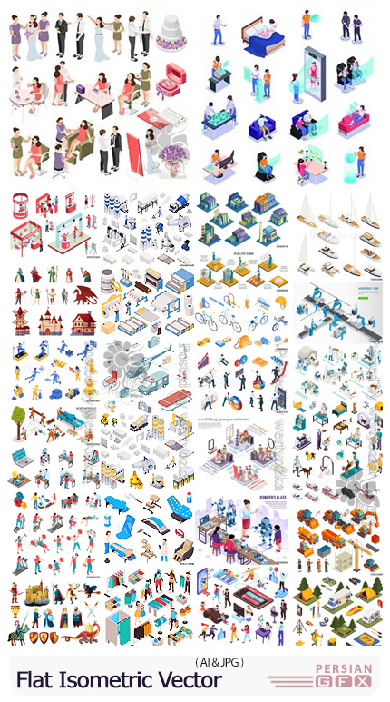 دانلود مجموعه وکتور نمودارهای ایزومتریک سه بعدی - Flat Isometric Vector 3D Concept Illustration