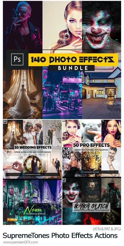 دانلود مجموعه اکشن فتوشاپ با 6 افکت نئونی، عروسی، سایپربانک و ... - SupremeTones Photo Effects Actions