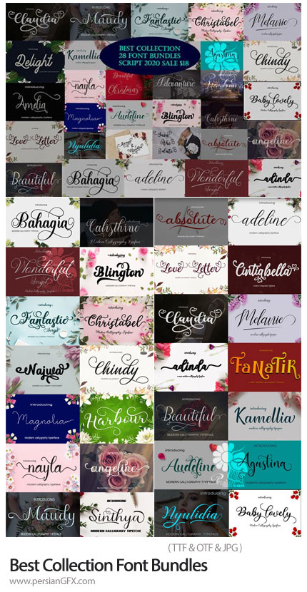 دانلود 28 فونت انگلیسی با طرح های هنری متنوع - Best Collection Font Bundles