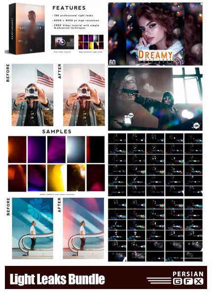 دانلود 256 تصویر پوششی بوکه های نورانی و نشتی نور رنگی - Light Leaks Bundle