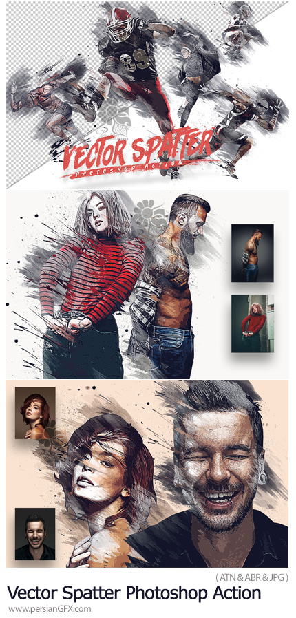 دانلود اکشن فتوشاپ تبدیل تصاویر به طرح وکتور هنری - Vector Spatter Photoshop Action