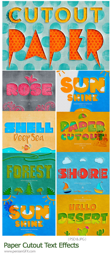 دانلود افکت لایه باز تبدیل متن به طرح برش کاغذی با بک گراندهای آماده - Paper Cutout Text Effects
