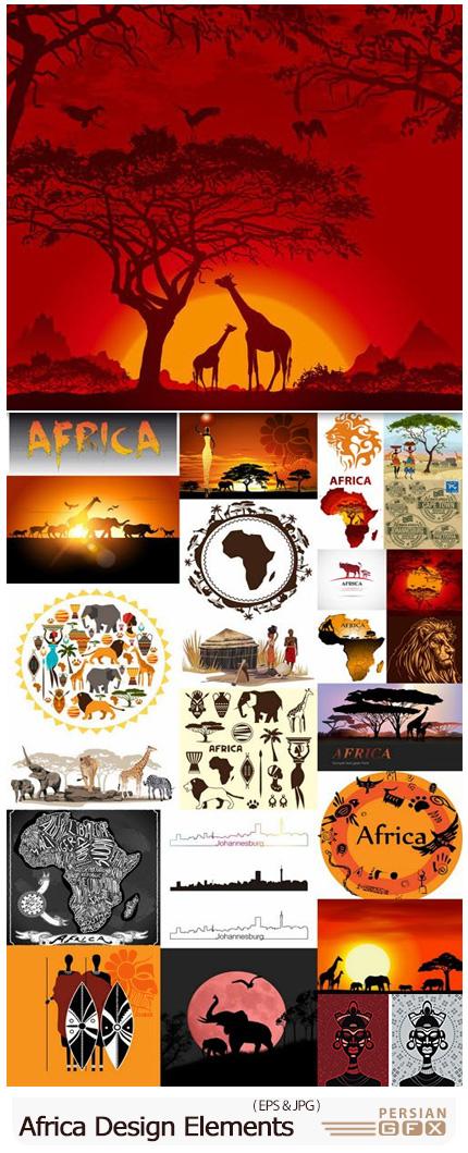 دانلود وکتور المان های تزئینی آفریقا - Africa Design Elements