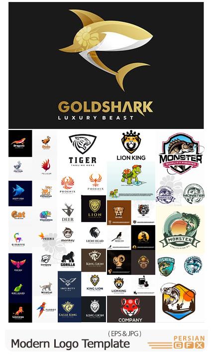 دانلود مجموعه وکتور آرم و لوگوی مدرن حیوانات مختلف - Modern Logo Template